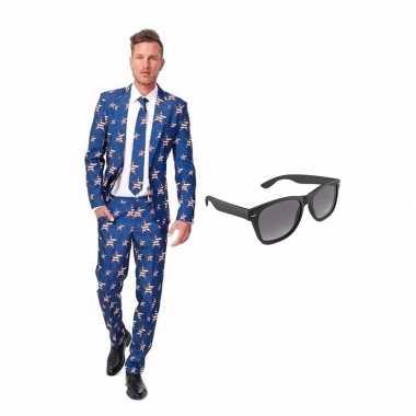 Amerikaanse vlag heren carnavalskleding maat (s) gratis zonnebril ar
