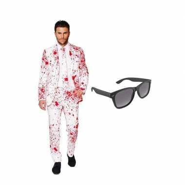 Bloedspatten print heren carnavalskleding maat (xxxl) gratis zonnebr