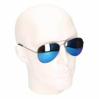 Carnavalskleding aviator zonnebril blauwe spiegel glazen model arnhem