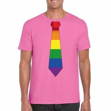 Carnavalskleding azalea roze t shirt regenboog vlag stropdas heren ar