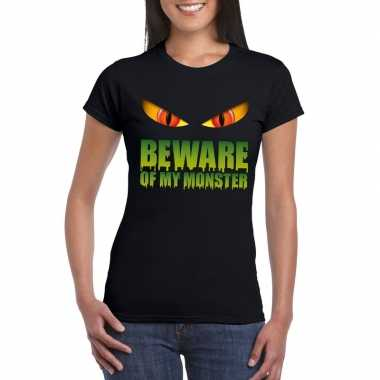 Carnavalskleding beware of my monster halloween t shirt zwart dames a