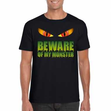 Carnavalskleding beware of my monster halloween t shirt zwart heren a