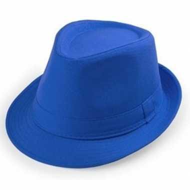 Carnavalskleding blauw trilby verkleed hoedje volwassenen arnhem