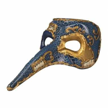 Carnavalskleding blauw venetiaans snavel masker heren arnhem