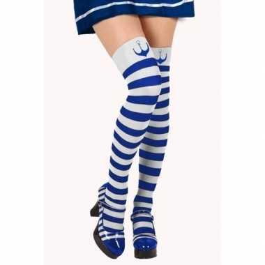 Carnavalskleding blauw/witte matroos kousen verkleed accessoire dames
