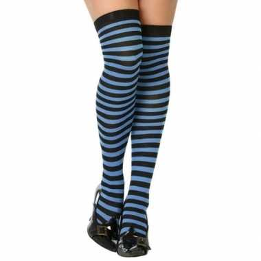 Carnavalskleding blauw/zwarte gestreepte verkleed kousen dames arnhem