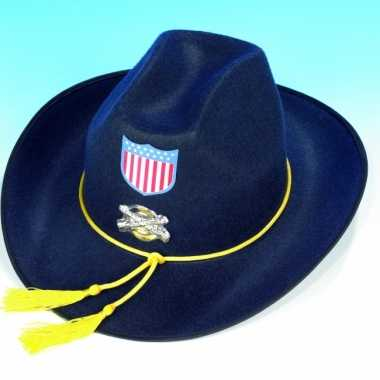 Carnavalskleding  Blauwe Amerikaanse soldaten hoed Arnhem