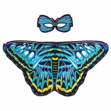 Carnavalskleding blauwe aurelia vlinder verkleedset meisjes arnhem