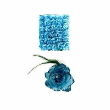 Carnavalskleding blauwe deco bloem speld elastiek arnhem