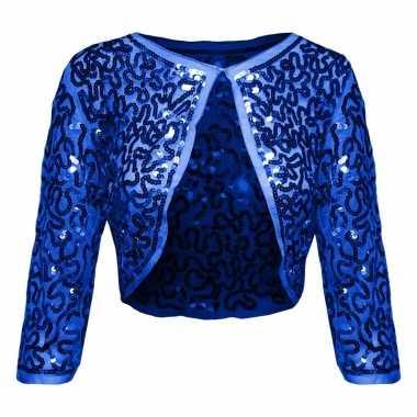 Carnavalskleding blauwe glitter pailletten disco bolero jasje dames a