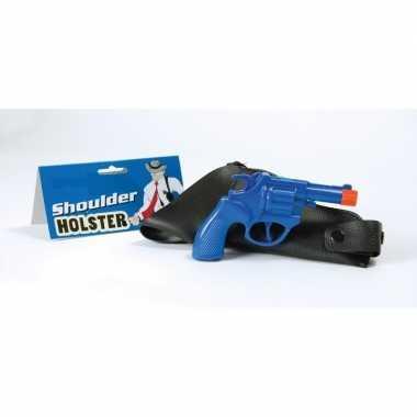 Carnavalskleding blauwe politie revolver schouder holster arnhem