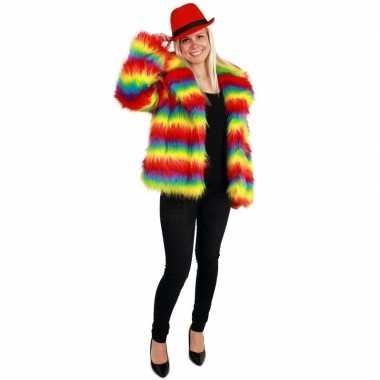 Carnavalskleding bontjas regenboog print dames arnhem