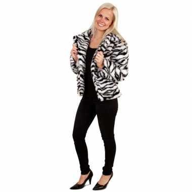 Carnavalskleding bontjas zebra print dames arnhem
