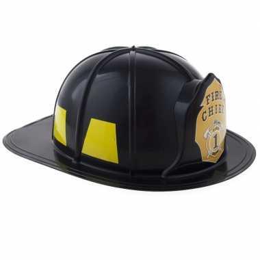 Carnavalskleding brandweer verkleed helm zwart volwassenen arnhem