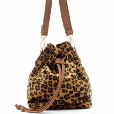 Carnavalskleding bruin/zwart luipaardprint schoudertasje/bucket bag a