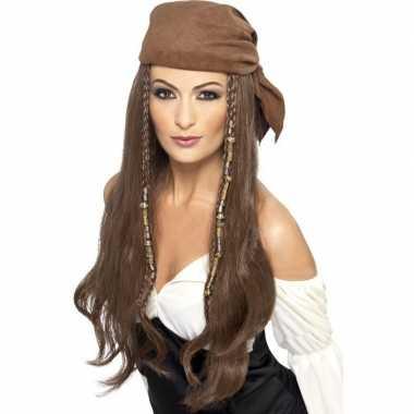 Carnavalskleding bruine piratenpruik bandana dames arnhem