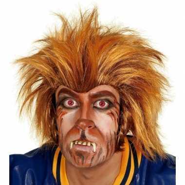 Carnavalskleding bruine weerwolf pruik volwassenen arnhem