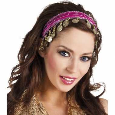 Carnavalskleding buikdanseres hoofdband/diadeem fuchsia roze dames ve