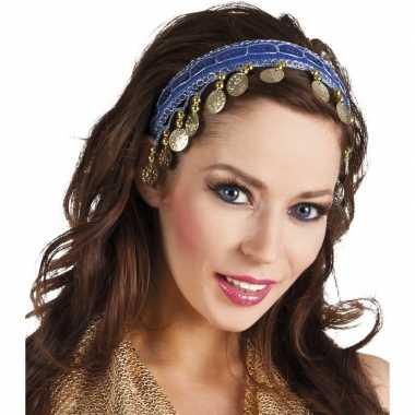 Carnavalskleding buikdanseres hoofdband/diadeem kobalt blauw dames ve