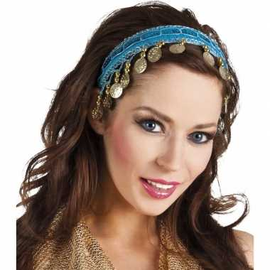 Carnavalskleding buikdanseres hoofdband/diadeem turquoise blauw dames