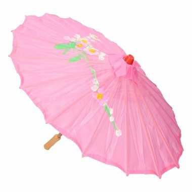 Carnavalskleding chinese paraplu lichtroze arnhem