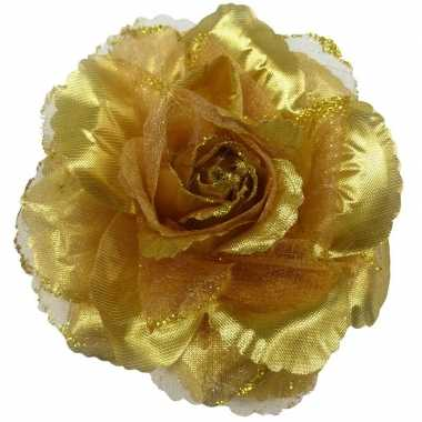 Carnavalskleding corsage gouden glitter bloem accessoire arnhem
