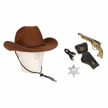 Carnavalskleding cowboy accessoire set bruin volwassenen arnhem
