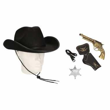 Carnavalskleding cowboy accessoire set zwart volwassenen arnhem
