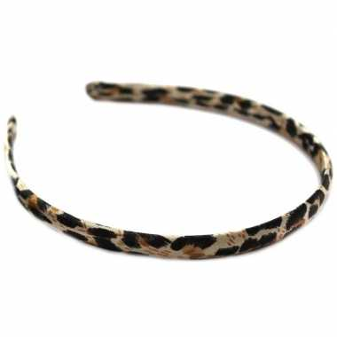 Carnavalskleding dames diadeem/haarband bruine panter dierenprint arn