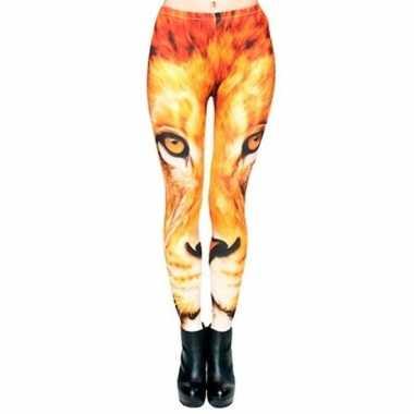 Carnavalskleding dames party legging leeuwen print arnhem