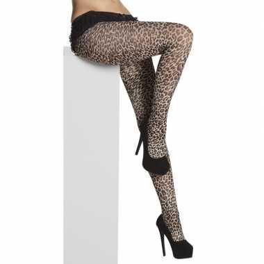 Carnavalskleding denier panty luipaard/panter print dames arnhem