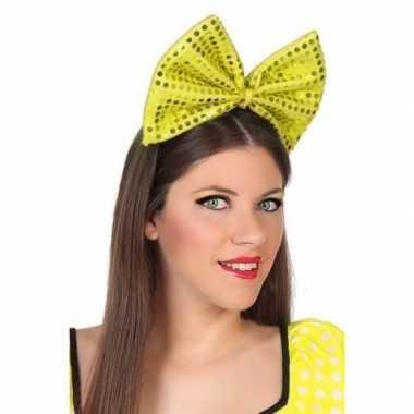 Carnavalskleding diadeem grote gele strik pailletten dames arnhem