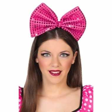 Carnavalskleding diadeem grote roze strik pailletten dames arnhem
