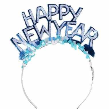 Carnavalskleding diadeem happy new year blauw volwassenen arnhem
