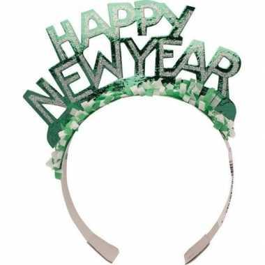 Carnavalskleding diadeem happy new year groen volwassenen arnhem