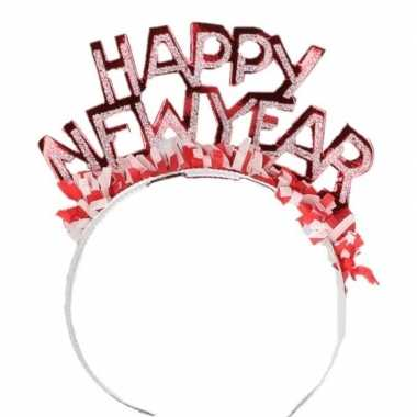 Carnavalskleding diadeem happy new year rood volwassenen arnhem