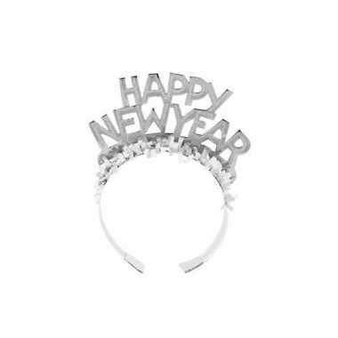 Carnavalskleding diadeem happy new year zilver volwassenen arnhem