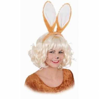 Carnavalskleding diadeem konijnen oren bruin arnhem