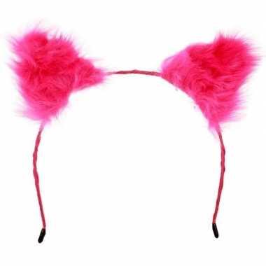 Carnavalskleding diadeem pluche roze oren volwassenen arnhem