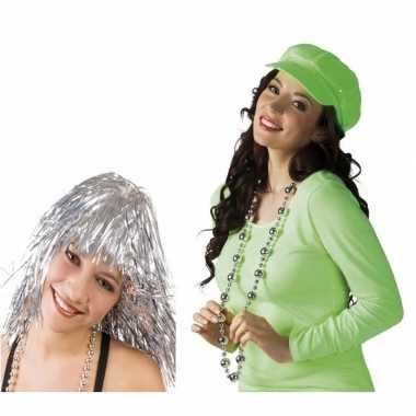 Carnavalskleding disco accessoires verkleedset zilver dames arnhem
