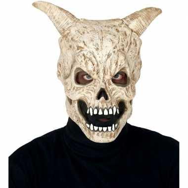 Carnavalskleding duivel schedel hoorns horror masker latex arnhem