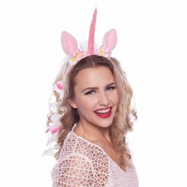 Carnavalskleding eenhoorn tiara roze/wit arnhem