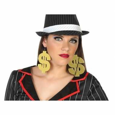 Carnavalskleding enorme gouden dollar oorbellen verkleed accessoire a