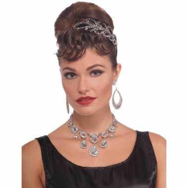 Carnavalskleding feest/verkleed ketting zilver diamanten dames arnhem