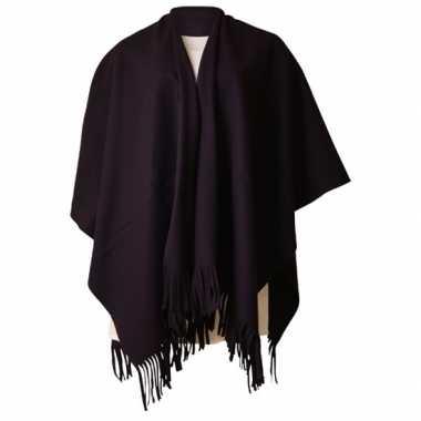 Carnavalskleding fleece poncho zwart arnhem