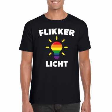 Carnavalskleding flikker licht shirt regenboog lampje zwart heren arn