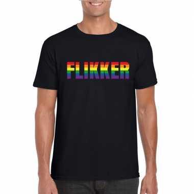 Carnavalskleding flikker regenboog tekst shirt zwart heren arnhem