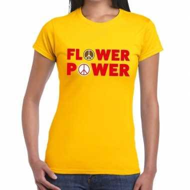 Carnavalskleding flower power tekst t shirt geel dames arnhem