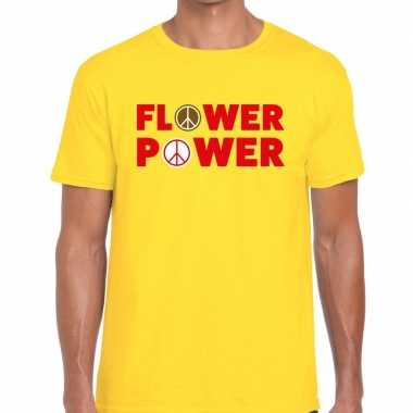 Carnavalskleding flower power tekst t shirt geel heren arnhem