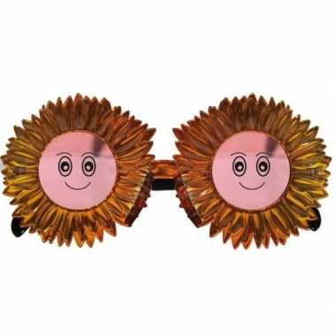 Carnavalskleding funbril zonnebloemen goud volwassenen arnhem